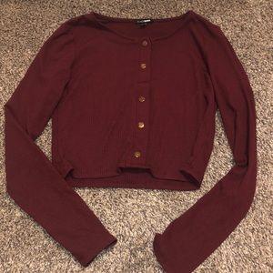Fashion nova crop top long sleeve Maroon color